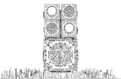 Vector futurista de la estructura del rascacielos de la ciudad de la megalópoli Foto de archivo