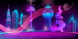 Vector futuristic city on other planet, megapolis