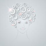 Vector futuristic girl Stock Images