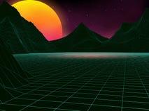 Vector futuristic illustration of sun with mountains in retro s. Tyle.Futuristic retro landscape of the 80`s Stock Image