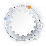 Vector futuristic technology, 3d white paper gear wheel on circuit board. Stock Photos
