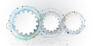Vector futuristic technology, 3d white paper gear wheel on circuit board. Illustration hi-tech, engineering, digital telecoms concept. With space for content Stock Images