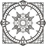 Vector gótico del compás del tatuaje del reloj de reloj Imagenes de archivo