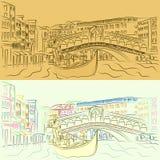 Vector a gôndola com os amantes em Grand Canal no fundo da ponte de Rialto ilustração stock