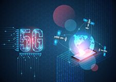 Vector 5G technology background. New generation mobile network and the internet. Digital data as digits binary code connected to. Earth with satellite on blue vector illustration