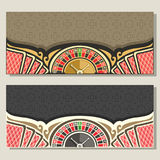 Vector gamble banners for Casino. 2 layouts invitation with roulette wheel for gambling game, red backs of playing cards on brown pattern, template flyer with royalty free illustration
