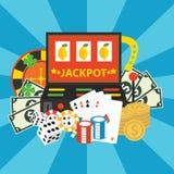 Vector gambling casino elements, jackpot Royalty Free Stock Image