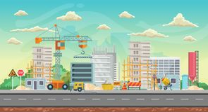 Vector game background. Landscape orientation. Panorama with construction Royalty Free Stock Images