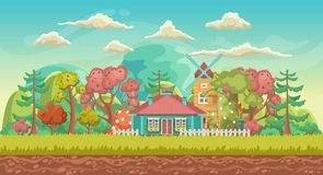 Vector game background. Landscape orientation. Panorama with cute village Stock Photography