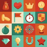 Vector game elements in flat style Royalty Free Stock Photos