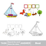 Vector game. Find hidden word Boat. Search the word. Vector rebus game. Solve the rebus and find the word Boat. Task and answer Stock Image