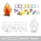 Vector game. Find hidden word bonfire. Search the word. Vector rebus game. Solve the rebus and find the word bonfire. Task and answer Stock Image
