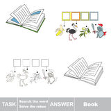 Vector game. Find hidden word Book. Search the word. Vector rebus game. Solve the rebus and find the word Book. Task and answer Royalty Free Stock Photography
