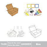 Vector game. Find hidden word box. Search the word. Vector rebus game. Solve the rebus and find the word box. Task and answer Royalty Free Stock Image