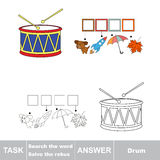 Vector game. Find hidden word drum. Search the word. Vector rebus game. Solve the rebus and find the word drum. Task and answer Royalty Free Stock Image