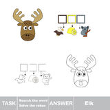 Vector game. Find hidden word Elk. Search the word. Vector rebus game. Solve the rebus and find the word Elk. Task and answer Royalty Free Stock Image