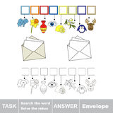 Vector game. Find hidden word envelope. Search the word. Vector rebus game. Solve the rebus and find the word envelope. Task and answer Royalty Free Stock Images