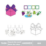 Vector game. Find hidden word gift. Search the word. Stock Photo