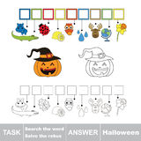 Vector game. Find hidden word halloween. Search the word. Vector rebus game. Solve the rebus and find the word halloween. Task and answer Stock Images