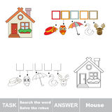 Vector Game. Find Hidden Word Hause. Search The Word. Royalty Free Stock Photography
