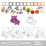Vector game. Find hidden word hippo. Search the word. Stock Photos