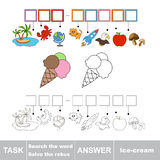 Vector game. Find hidden word ice-cream. Search the word. Vector rebus game. Solve the rebus and find the word ice-cream. Task and answer Stock Photo