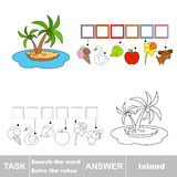 Vector game. Find hidden word island. Search the word. Vector rebus game. Solve the rebus and find the word island. Task and answer Royalty Free Stock Photography