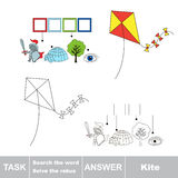 Vector game. Find hidden word kite. Search the word. Vector rebus game. Solve the rebus and find the word kite. Task and answer Stock Photography
