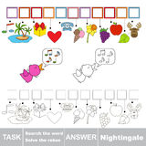 Vector game. Find hidden word Nightingale. Search the word. Stock Images