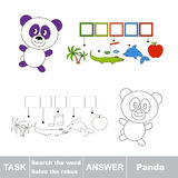 Vector game. Find hidden word Panda. Search the word. Royalty Free Stock Photos