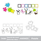 Vector game. Find hidden word Puzzle. Search the word. Royalty Free Stock Image