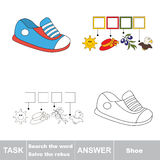Vector game. Find hidden word shoe. Search the word. Stock Photography