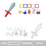 Vector game. Find hidden word sword. Search the word. Vector rebus game. Solve the rebus and find the word sword. Task and answer Stock Photography