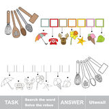 Vector game. Find hidden word utensil. Search the word. Vector rebus game. Solve the rebus and find the word utensil. Task and answer Stock Image