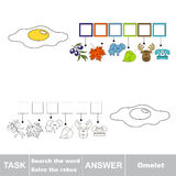 Vector game. Find hidden word yolk. Search the word. Stock Photo