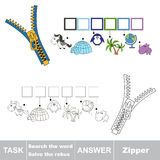 Vector game. Find hidden word Zipper. Search the word. Vector rebus game. Solve the rebus and find the word Zipper. Task and answer Royalty Free Stock Photos