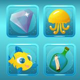 Game Icons for Nautical Match Three Game or App. Vector game icons with jellyfish, gem, fish and bottle for underwater nautical match three game or app design Royalty Free Stock Image
