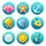 Nautical Circle Game Icons with elements. Vector game icons with seashell, starfish, anchor, jellyfish, gem, fish, pearl, coin and bottle for underwater match Royalty Free Stock Image