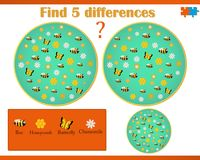 Find difference on a vector image with bees and flowers. Vector game know difference with the answer below Stock Image