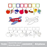 Vector game. Search the word. Find hidden word Airplane Royalty Free Stock Photography