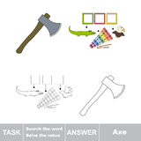 Vector game. Search the word. Find hidden word Axe Royalty Free Stock Images