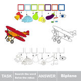 Vector game. Search the word. Find hidden word Biplane Royalty Free Stock Images