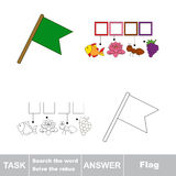 Vector game. Search the word. Find hidden word Flag Stock Photography