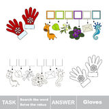 Vector game. Search the word. Find hidden word Gloves Royalty Free Stock Photo