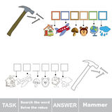 Vector game. Search the word. Find hidden word Hammer Royalty Free Stock Image