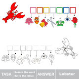 Vector game. Search the word. Find hidden word Lobster Royalty Free Stock Photos