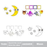 Vector game. Search the word. Find hidden word Moon Stock Photos
