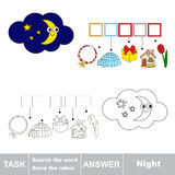 Vector game. Search the word. Find hidden word Night Stock Images