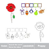 Vector game. Search the word. Find hidden word Poppy Royalty Free Stock Photos