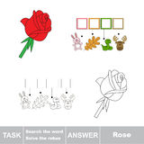 Vector game. Search the word. Find hidden word Rose Royalty Free Stock Photo
